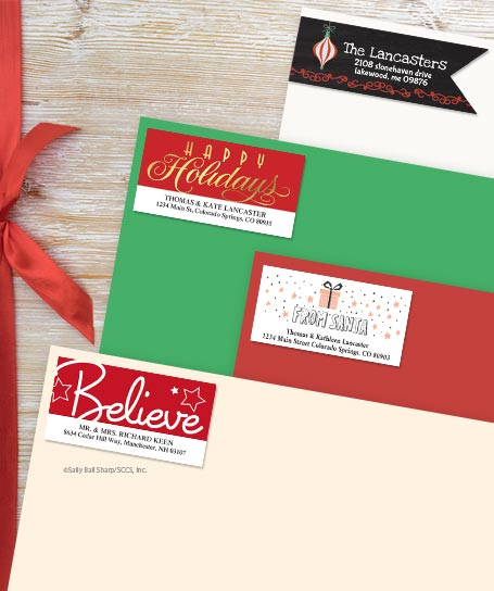 Shop Christmas Greetings Address Labels at Colorful Images